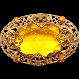 Fabulous Filigree Amber Glass Antique Brooch