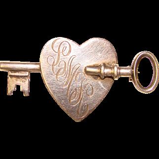 Gorgeous Hans Saugmann Bjerregoard STERLING Heart & Key Vintage Brooch