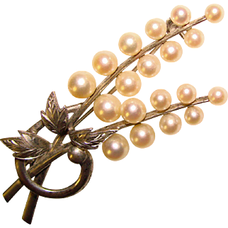 Fine MIKIMOTO Sterling & Cultured Pearl Vintage Brooch