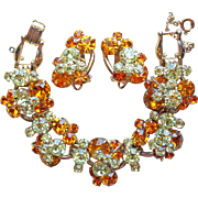 Fabulous D&E JULIANA Amber & Yellow Rhinestone Vintage Bracelet Earrings Set