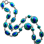 Fabulous PEACOCK EYE Foil Glass Vintage Necklace - Foiled Blue & Green Glass Bezel Set Beads