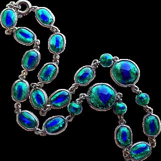 Fabulous PEACOCK EYE Foil Glass Vintage Necklace - Foiled Blue & Green Glass Bezel Set Beads