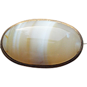 Small Antique Banded Agate Brooch - For Doll or Lapel