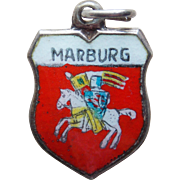 Vintage 800 Silver & Enamel Marburg Charm - Travel Souvenir of Germany
