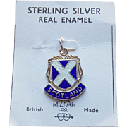 Vintage Scotland Sterling & Enamel Charm - Travel Souvenir on Original Card