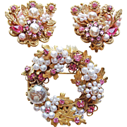 Fabulous ORIGINAL BY ROBERT Signed Vintage Brooch Set - Wired Pink Rhinestone Faux Pearl Flower Design