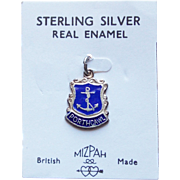 Vintage Porthcawl Sterling & Enamel Estate Charm - Souvenir of UK on Original Card
