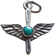 1940s Sterling & Turquoise Army Air Corps Wings Sweetheart Vintage Charm