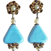 Gorgeous Blue Glass Triangle Vintage Dangle Earrings