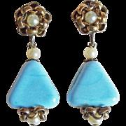 Gorgeous Blue Glass Triangle Vintage Dangle Earrings