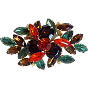 Gorgeous Orange Brown & Teal Rhinestone Vintage Brooch - Autumn Fall Colors