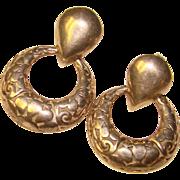 Gorgeous STERLING Openwork Pattern Dangle Hoop Earrings