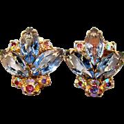 Gorgeous BLUE Glass Aurora Rhinestone Vintage Clip Earrings