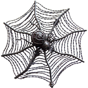 Awesome Sterling SPIDER IN WEB Signed Vintage Brooch - MMA Metropolitan Museum of Art