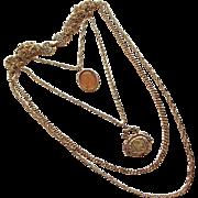 Fabulous Goldette Intaglio Glass & Fob Signed Vintage Necklace