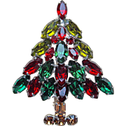 Gorgeous CHRISTMAS TREE Prong Set Rhinestone Vintage Brooch - Red & Green Signed Napier