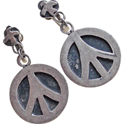 Awesome Mexican Sterling PEACE SIGN & DOVE Vintage Earrings