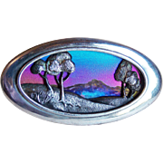 Fabulous Sterling & Titanium or Niobium Scenic Vintage Brooch - 1980s Signed AK