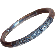 Fine Chinese Sterling & Bamboo Floral Bangle Bracelet - For Petite or Small Lady