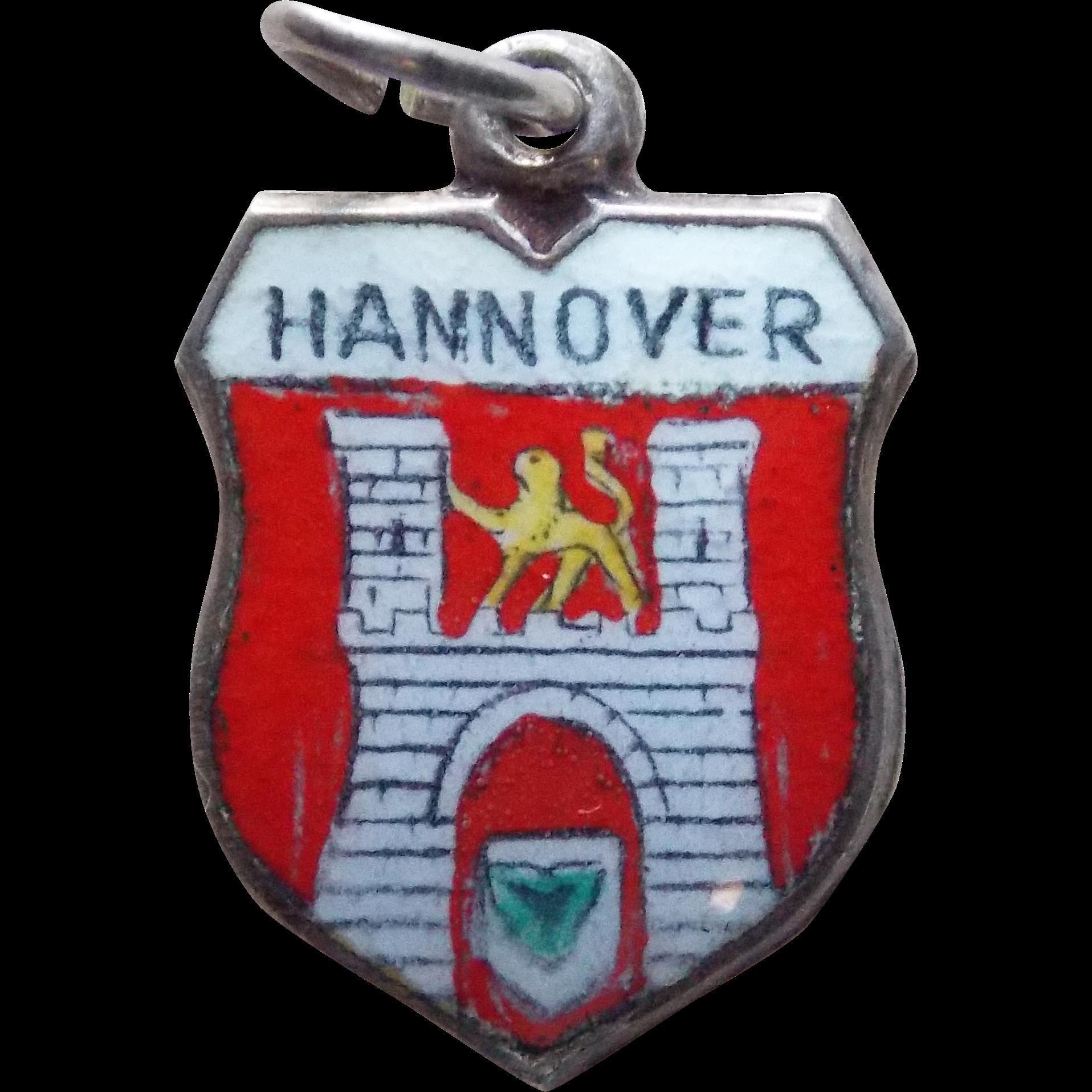 Vintage 800 silver enamel hannover charm travel for Souvenir hannover