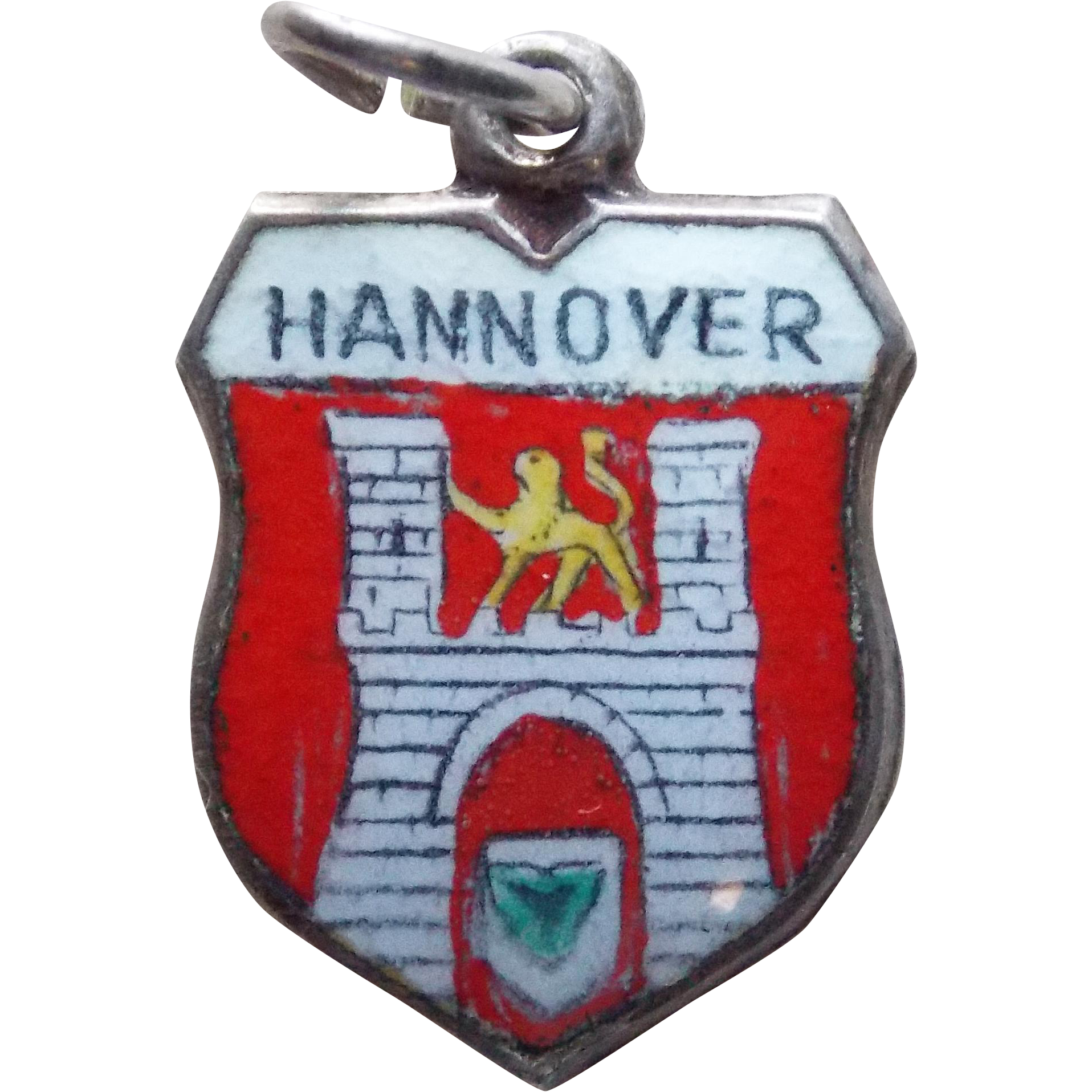 Vintage 800 silver enamel hannover charm travel for Hannover souvenirs