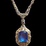 Dainty Art Deco Blue Glass Stone Necklace