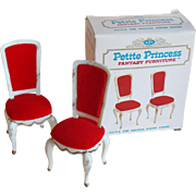 Fabulous Doll House Hostess Dining Chairs - 1960s Petite Princess Fantasy Furniture Ideal Original Box Set 2