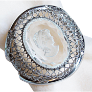 Fabulous WHITING & DAVIS Huge Runway Glass Cameo Bracelet - Vintage Statement Piece