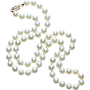 Fine Cultured Akoya Pearl 14K Gold Clasp Vintage Necklace - Princess Length