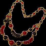 Fabulous Czech ART DECO Black & Dark Red Glass Necklace