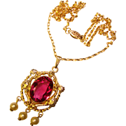 Gorgeous Signed Gold Filled Cranberry Stone Pendant Necklace