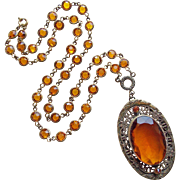 Fabulous Art Deco Amber Glass Necklace - Bezel Edge Set Open Crystal Chain