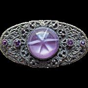 Gorgeous ART DECO Purple Glass & Rhinestone Filigree Brooch