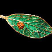 Fabulous Enamel LADY BUG on Leaf Vintage Brooch