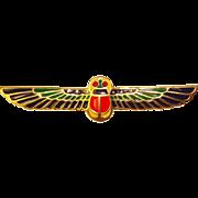 Fabulous Winged SCARAB Vintage Enamel Brooch