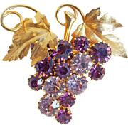 Gorgeous Grapes Purple & Lavender Rhinestone Vintage Brooch