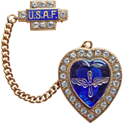 WWII Air Force 1940s Vintage Sweetheart Pin - Enamel Glass Heart & Rhinestone USAF Army Air Corps Wings