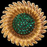Fabulous HAR Signed Green Rhinestone Vintage Brooch