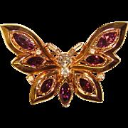 Fabulous TRIFARI Vintage Purple Rhinestone Butterfly Brooch