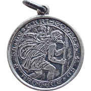 Sterling Charles Thomae St. Christopher Medal Vintage Charm or Pendant