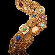 Fabulous GOLDETTE Double Row Jeweled Vintage Slide Bracelet