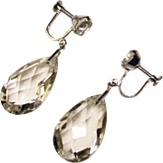 Fabulous Rock Crystal Sterling Setting Dangle Drop Vintage Earrings