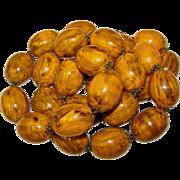 Fabulous HUGE BAKELITE Amber Brown Swirl Beads Vintage Necklace