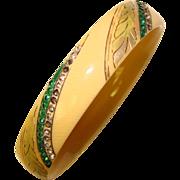Fabulous Flapper ART DECO Patterned Celluloid Rhinestone Bangle Bracelet