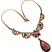 Fabulous PURPLE & GREEN Rhinestone Vintage Necklace