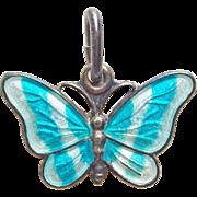 Denmark Sterling & Blue Enamel Butterfly Vintage Pendant or Charm - Volmer Bahner