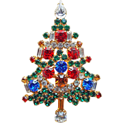 Fabulous CHRISTMAS TREE Multi Color Rhinestone Brooch - Signed OTC