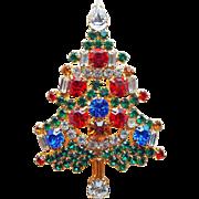 Fabulous CHRISTMAS TREE Multi Color Rhinestone Brooch - Signed OTC