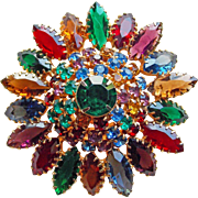 Fabulous Multi Color Rhinestone Vintage Brooch - Red Purple Green Blue Amber