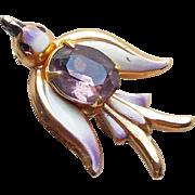 Super Cute Little CORO Enamel Painted Bird Purple Rhinestone Vintage Brooch - Signed with the Coro Pegasus Mark